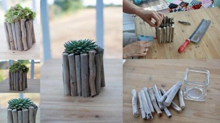 Симпатичное оформление вазы при помощи веток, что подарит легкость и ненавязчивость в интерьере любой из комнат.
