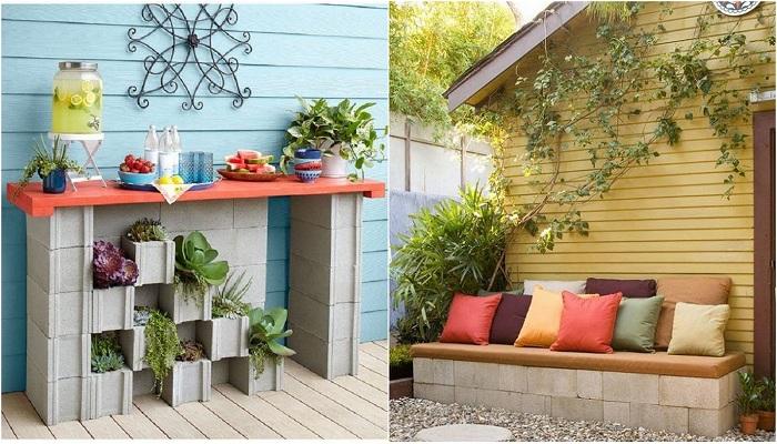 Идеи для оформления двора обычными шлакоблоками, то что понравится.