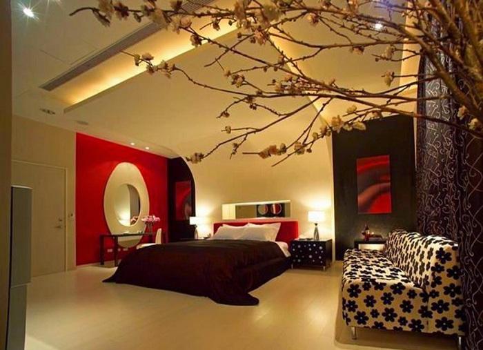 Черный, белый и красный цвет позволит создать романтическую обстановку.