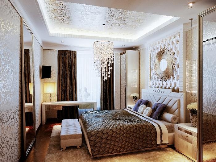 Современная элегантная спальня, также выглядит очень уютно и подходит для отдыха.