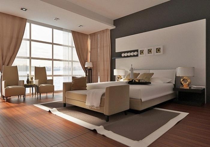 В этой спальной можно не только отдыхать, но и насладиться чтением любимой книги, журнала.