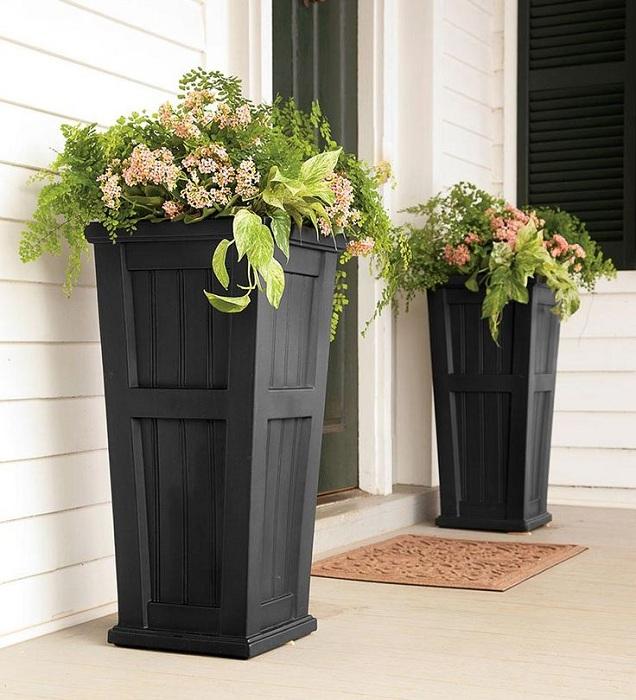 По бокам входной двери возможно поставить горшки с цветами, что преобразят интерьер