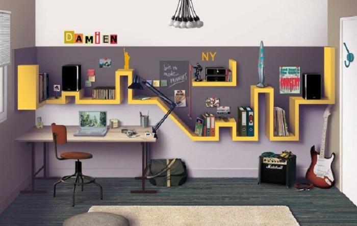 Отличное решение создать отменную обстановку в комнате при помощи создания такой яркой и крутой полки.