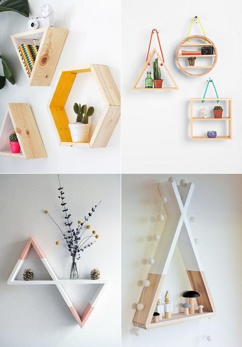 Симпатичное решение преобразить интерьер комнаты при помощи оригинальных деревянных полок.