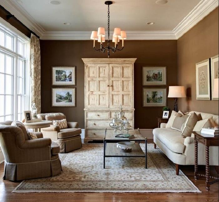 Оригинальные коричневые тона в интерьере, что станут основой декора такого типа комнаты.
