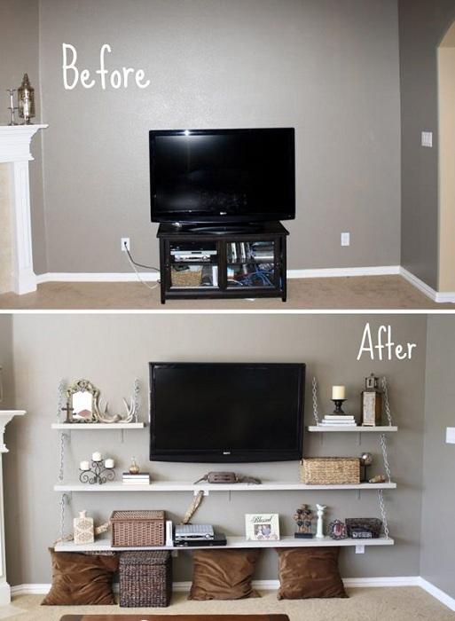 Один из самых лучших вариантов оформления места около телевизора, что точно украсит и преобразит интерьер.