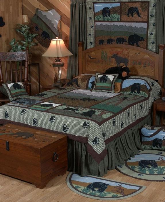 Отличная идея оформить спальню в деревенском стиле с преобладанием зеленых оттенков.