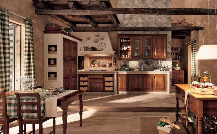 Удачное решение при оформлении столовой и кухни - это создание теплой атмосферы благодаря отменному деревенскому стилю.