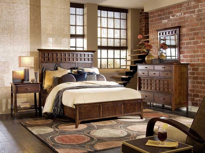 Отличный интерьер спальни создан благодаря простому, но стильному дизайнерскому решению, оформлению в деревенском стиле.