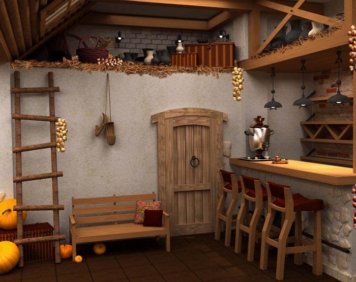 Интересный интерьер в деревенском стиле, что станет прекрасным вариантом создания индивидуального варианта декора.