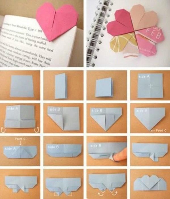 Симпатичные и простые закладки из бумаги, которые очень просто сделать.