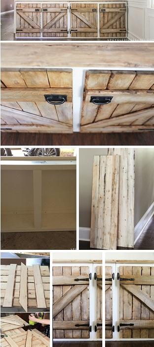 Хороший вариант оформления тумб в деревенском стиле с применением деревянных ноток.