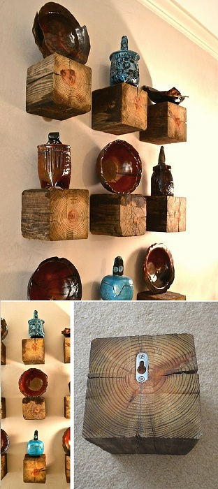 Декоративные деревянные полки, которые станут просто отличным элементом декора.