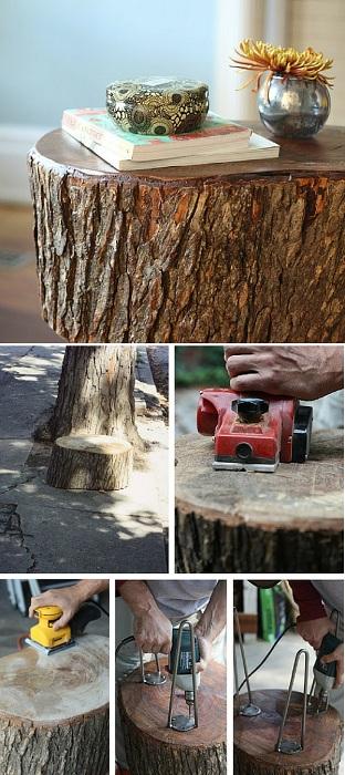 Отличный вариант создать стол из сруба дерева, что станет просто отличным вариантом для декора.