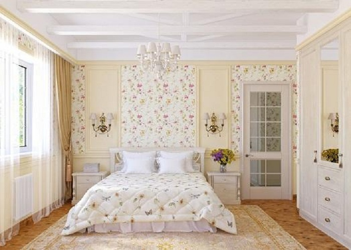 Отличный интерьер спальной станет просто находкой для любителей светлых оттенков.