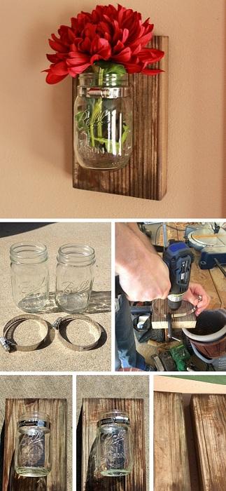 Настенные украшения, которые украсят стены в виде настенных ваз, созданных из банок.