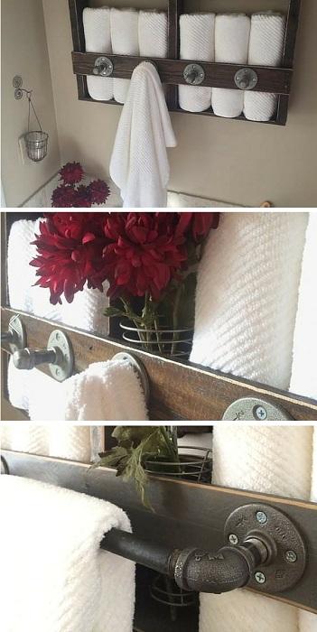 Отличный вариант создания полок для хранения полотенец, то что понравится любому.