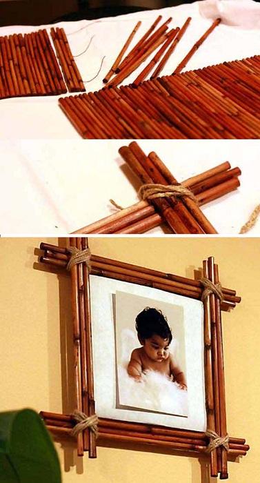 Прекрасная и простая фоторамка из бамбука, клея  и ниток.