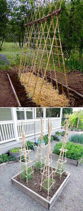 Удобное изобретение для сада выполнено из бамбука.