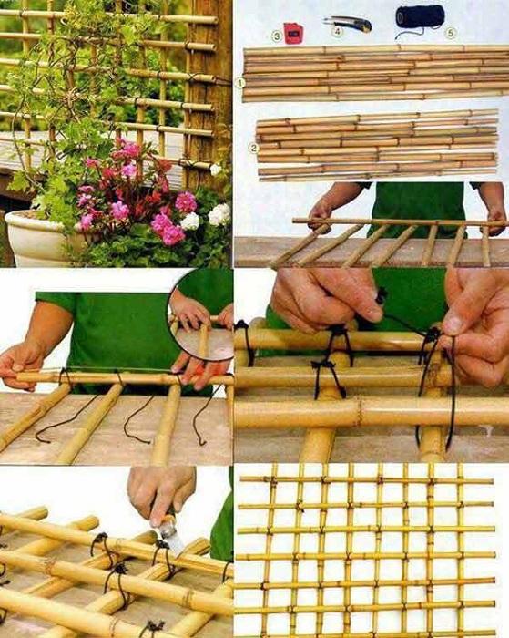 Бамбуковая сетка для растений, удачное решение для декора.