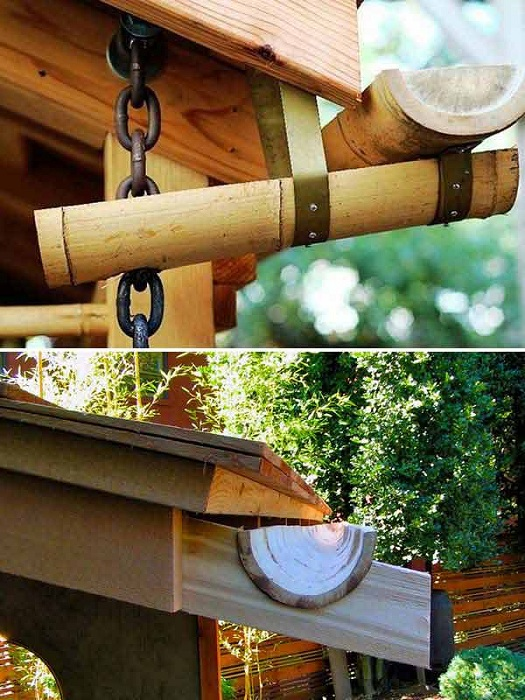 Собирать дождевую воду возможно при помощи бамбуковых желобов.