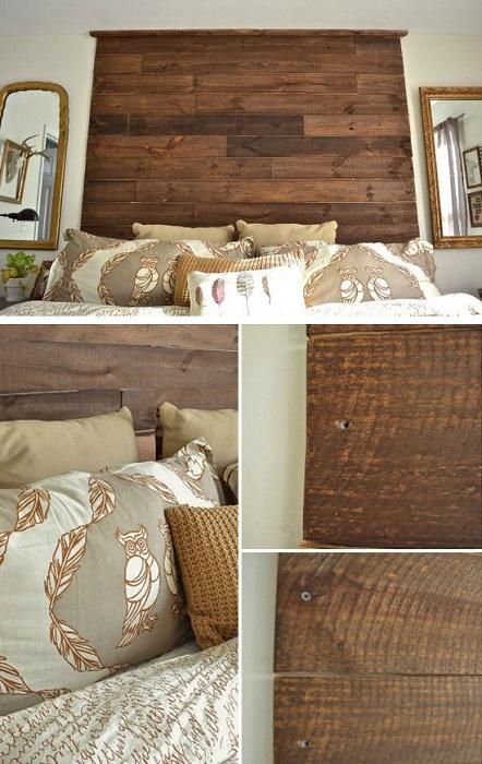 Особенное оформление изголовья кровати в дереве, что украсит комнату и создаст легкую атмосферу.