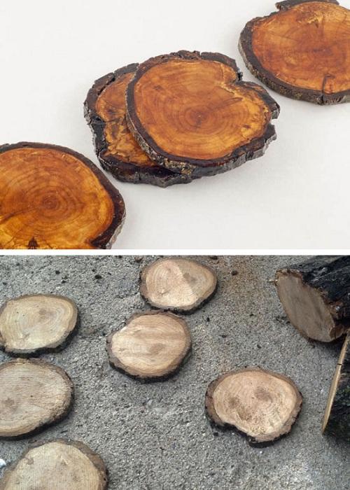 Обычные кусочки древесины становятся обычными подставками для стаканов - простое, но нужное решение для декора.