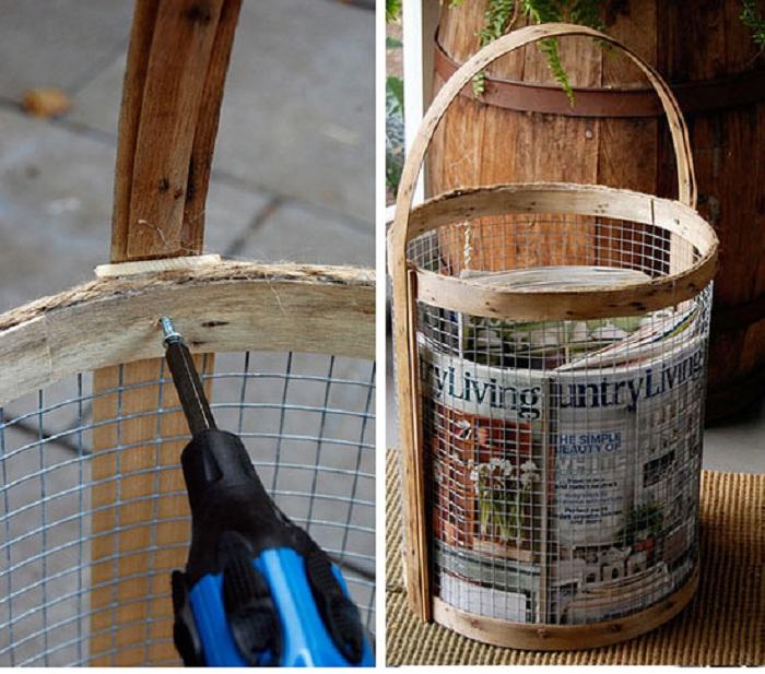 Использовать мелкоячеистую сетку возможно для создания великолепных держателей газеты корзину.