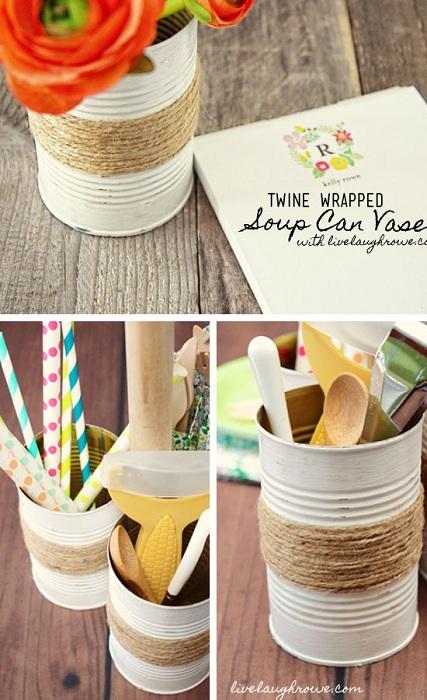 Интересный вариант оформить вазу из жестяной банки, что станет дополнением к интерьеру.