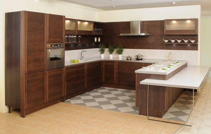 Шикарный вариант благоустроить кухню в деревянных тенденциях.