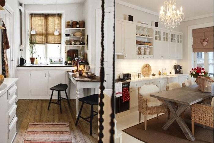 Хорошие варианты оформления кухни с добавлением коричневых оттенков.