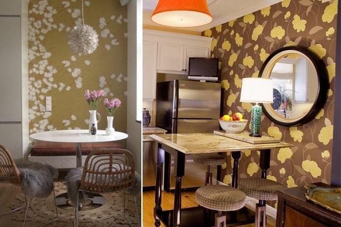 Просто прекрасное решение декорировать стену на кухне в коричневых тонах, что точно понравится.
