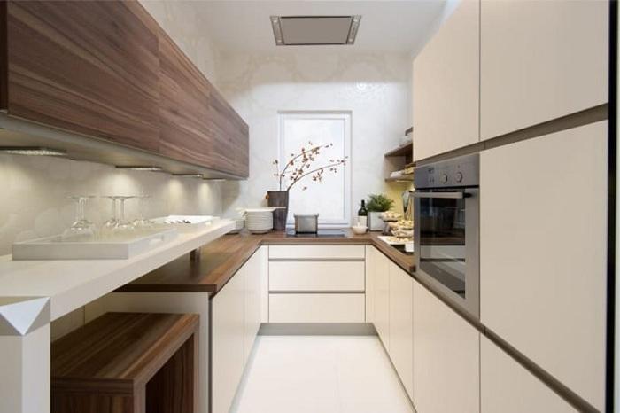 Интерьер кухни успешно расширен в длину, что точно понравится и зрительно удлинит комнату.