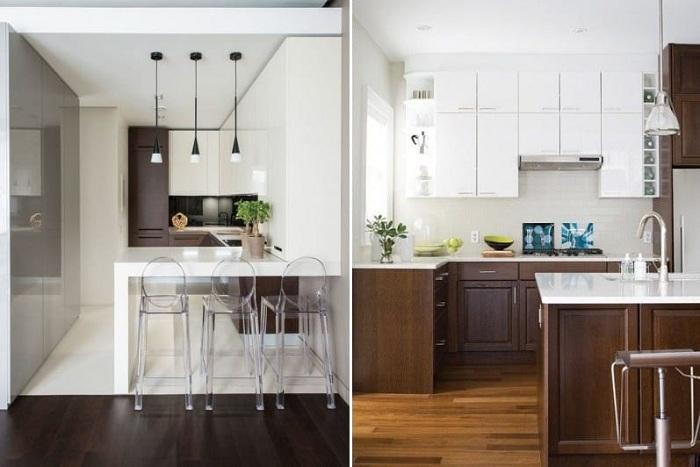 Симпатичное решение для декорирования кухни в коричневых оттенках.