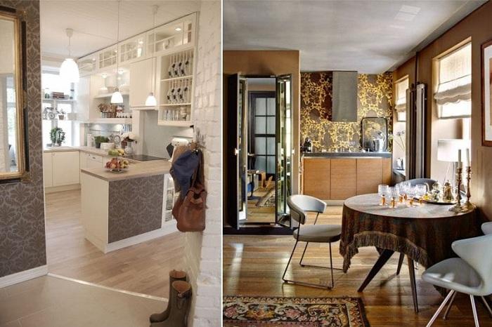 Потрясающие вариант декорирования стен на кухне в коричневых оттенках.