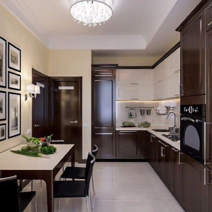 Кухня в тонах черного шоколада, что позволит создать сладкую обстановку.