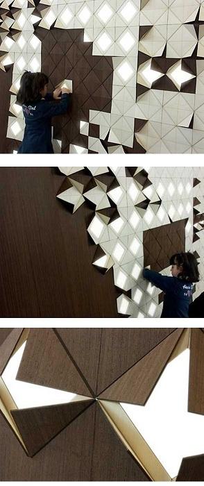 Очень оригинальная стена, что смотрится просто волшебно и создает уютную и очень теплую атмосферу.