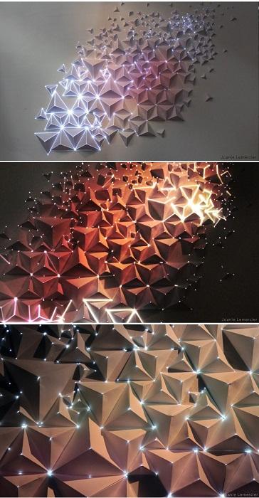 Красивое освещение стены при помощи таких нестандартных ламп, что вдохновит.