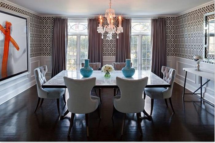 Отличный вариант оформить столовую благодаря необычным орнаментам.