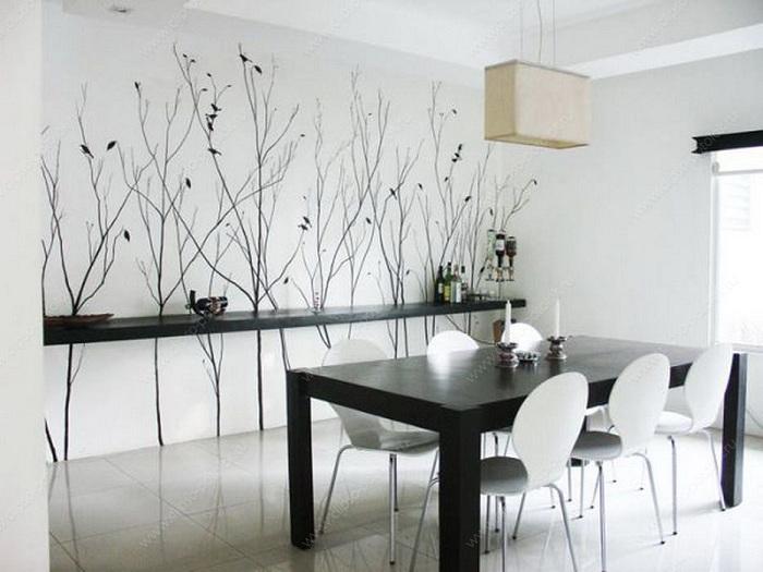 Оригинальное решение декора столовой в черно-белых тонах.
