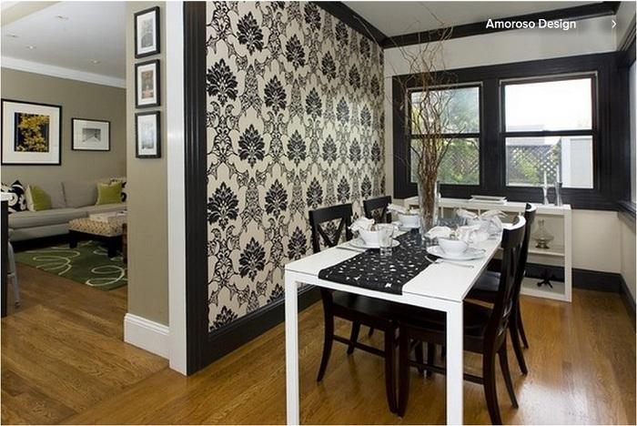 Красивое дизайнерское решение - облагородить столовую обоями с оригинальными узорами.