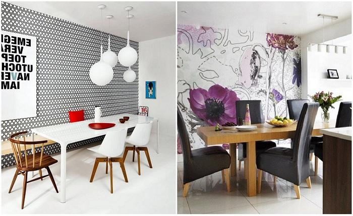Примеры декорирования столовой оригинальными обоями.