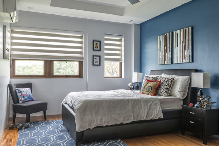 Отличный вариант оформления спальни для мальчика, то что создаст интересное настроение и вдохновит.