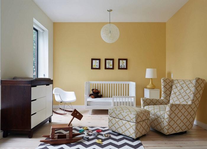 Отличный вариант оформления просторной детской комнаты, которая точно понравится.