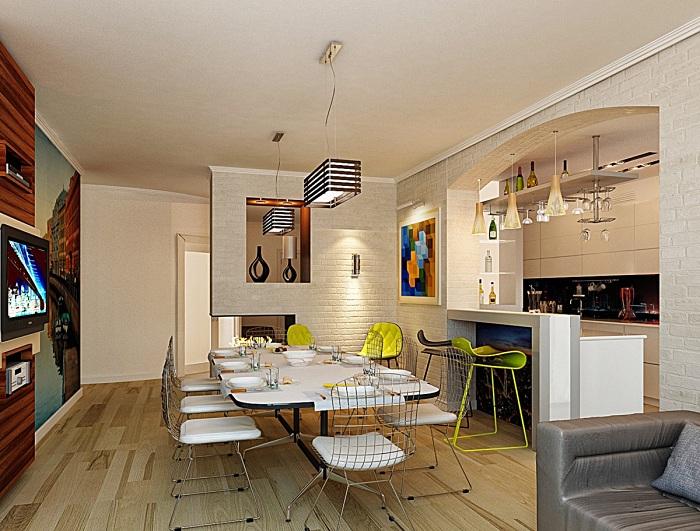 Отличный вариант оформить столовую для большой семьи в стильных и оригинальных тенденциях.