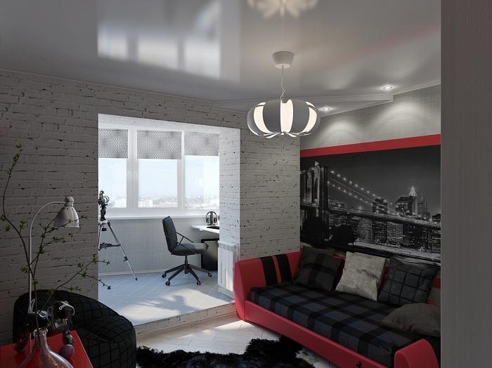 Классический интерьер в черном, белом и красном цветах станет просто находкой для оформления гостиной, которая плавно переходит в рабочую зону.