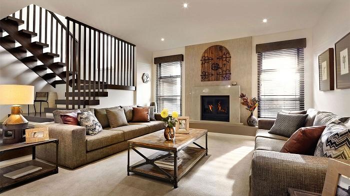 Хороший вариант оформления гостиной с камином, что выглядит очень очаровательно и привлекательно.