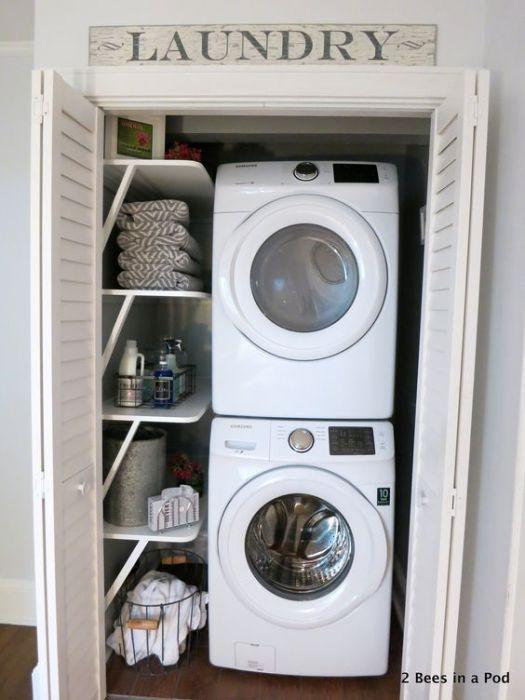 Интересное решение и оптимальное настроение создано благодаря милым решениям создать симпатичную прачечную в домашних условиях.
