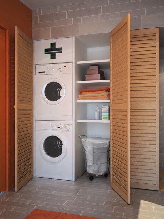 Уютная и интересная обстановка в компактной прачечной, что станет просто оптимальным и хорошим решением для декора.