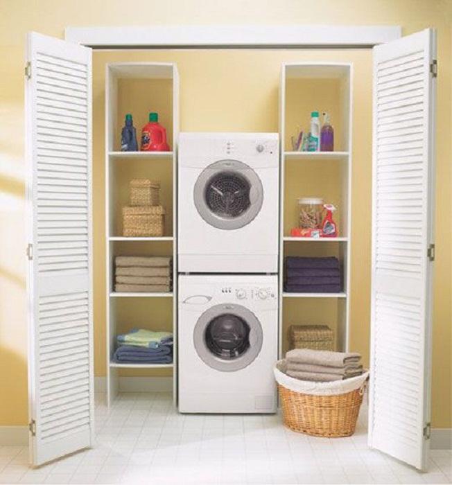 Симпатичное решение, что точно понравится - так это размещение удачных вариантов двойной стиральной машины.
